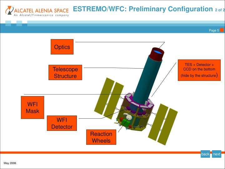 ESTREMO/WFC: Preliminary Configuration