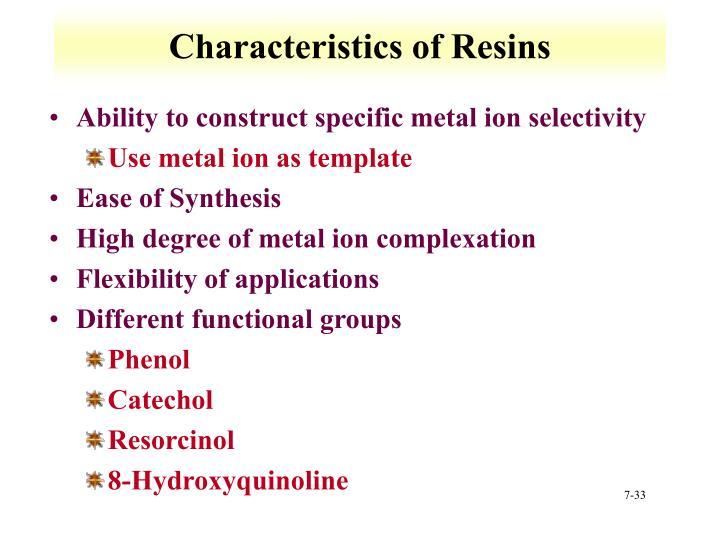 Characteristics of Resins