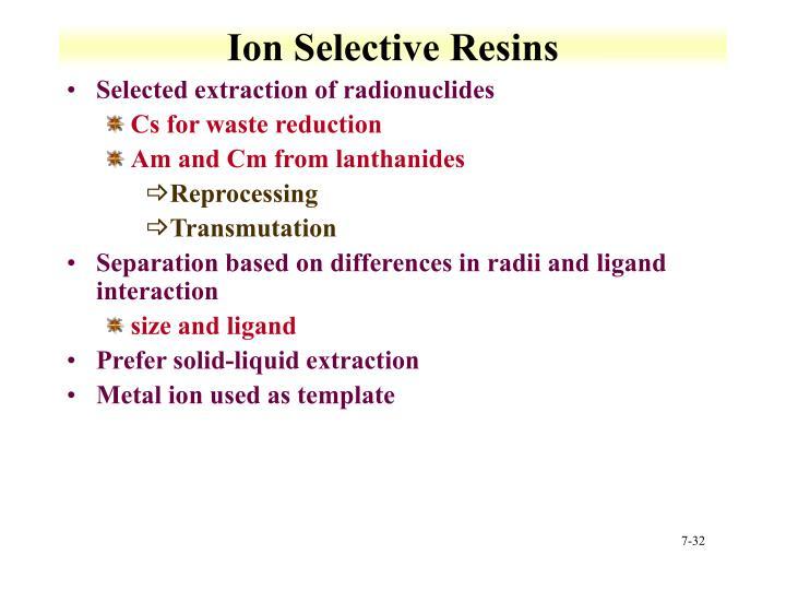 Ion Selective Resins
