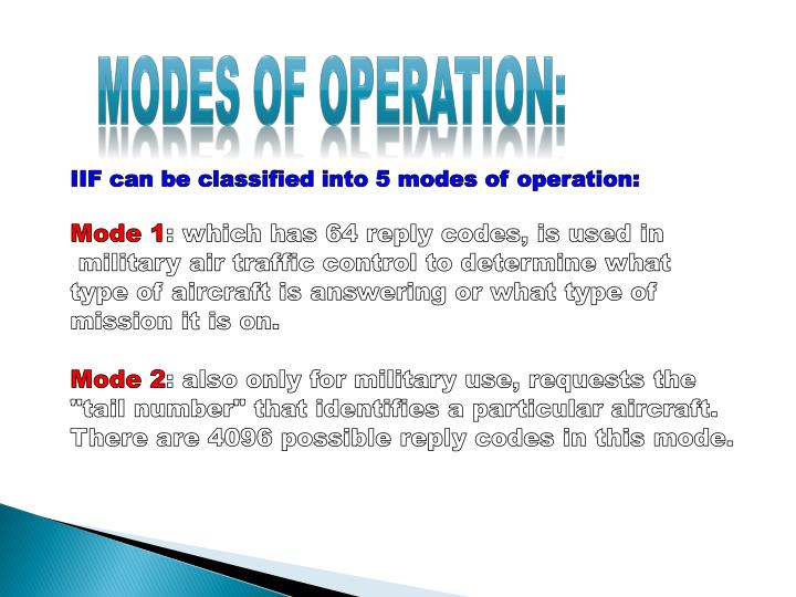 Modes of operation: