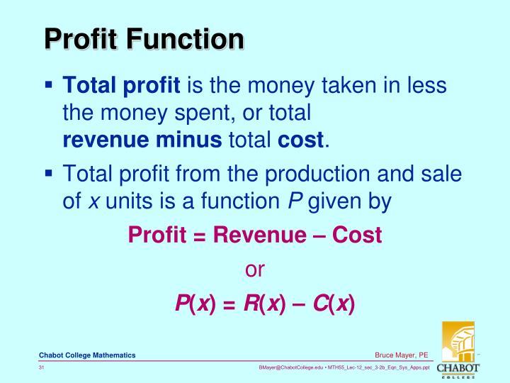Profit Function