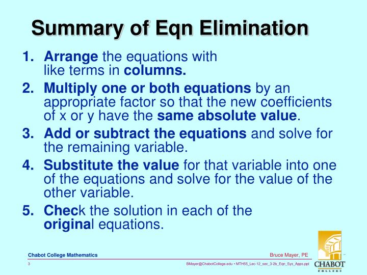 Summary of eqn elimination