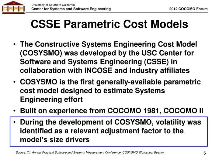 CSSE Parametric Cost Models