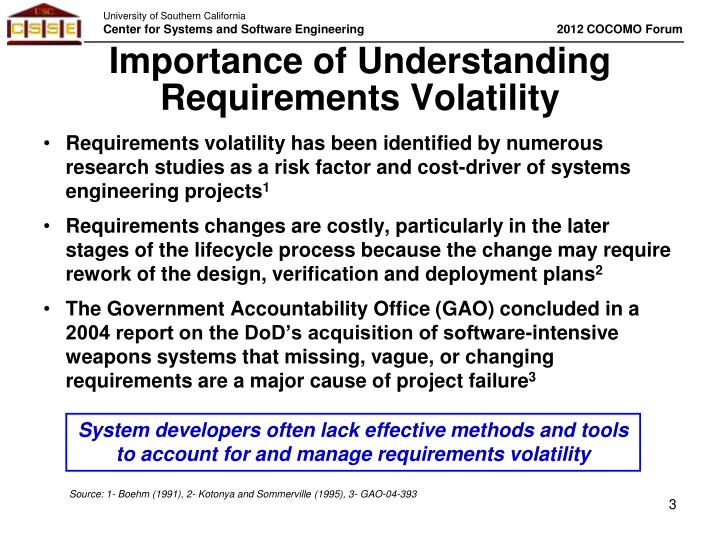 Importance of understanding requirements volatility