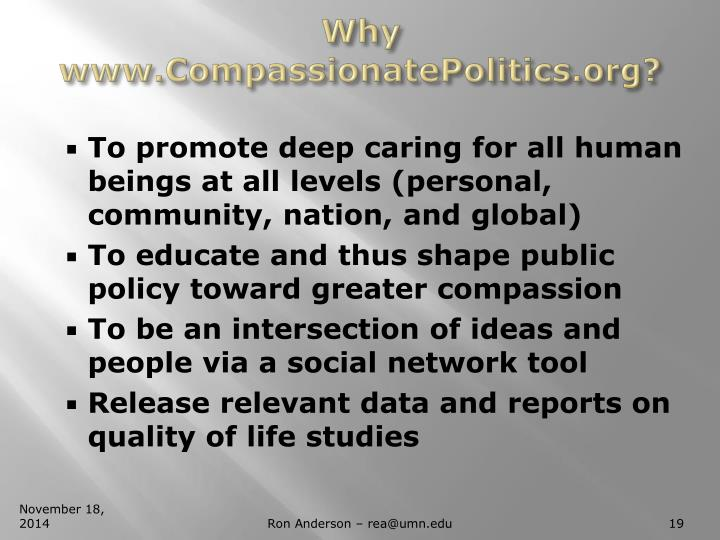 Why www.CompassionatePolitics.org?