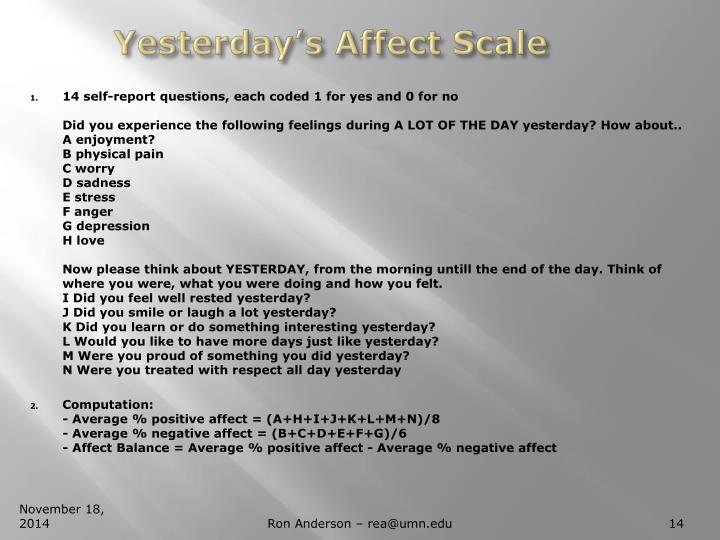 Yesterday's Affect Scale