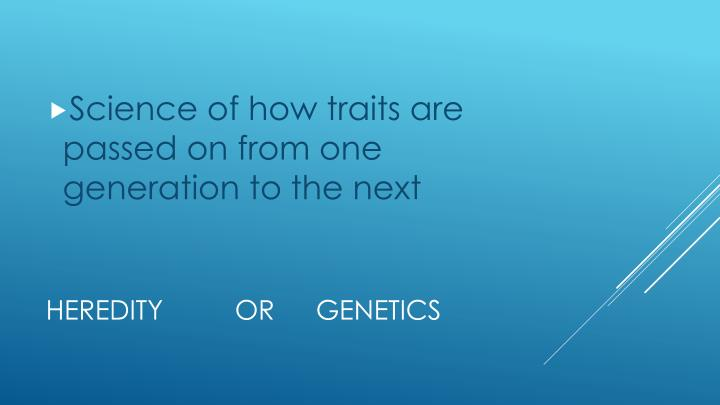 Science of how traits are passed on from one generation to the next