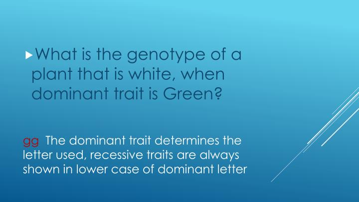 What is the genotype of a plant that is white, when dominant trait is Green?
