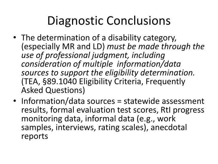Diagnostic Conclusions