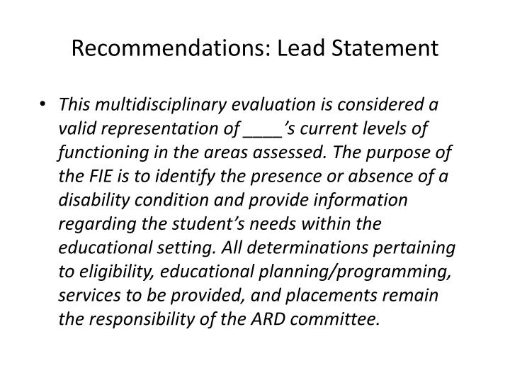 Recommendations: Lead Statement