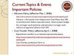 current topics events important policies