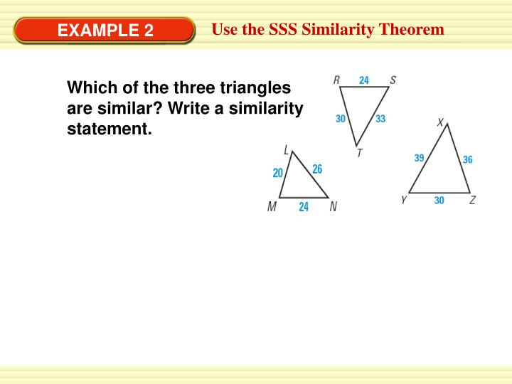 Which of the three triangles are similar? Write a similarity statement.