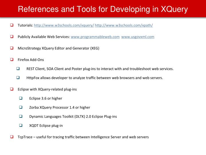 References and Tools for Developing in XQuery