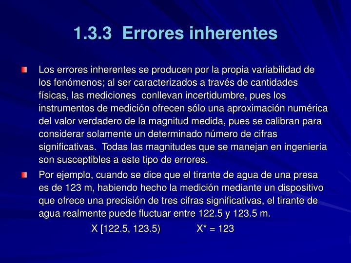 1.3.3  Errores inherentes