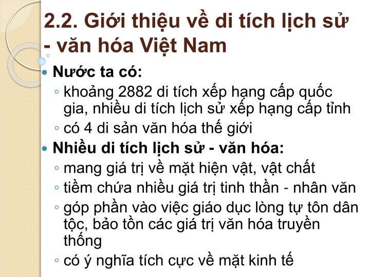 2.2. Giới thiệu về di tích lịch sử - văn hóa Việt Nam