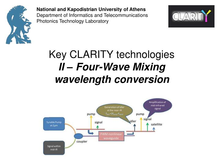 Key clarity technologies ii four wave mixing wavelength conversion