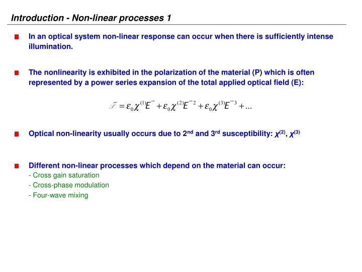 Introduction - Non-linear processes 1