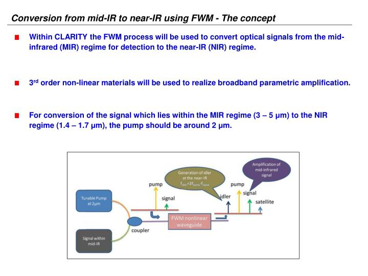 Conversion from mid-IR to near-IR using FWM - The concept