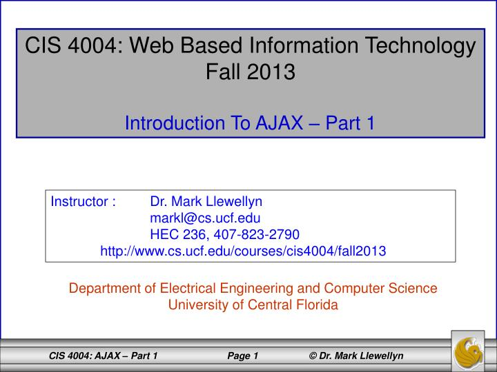 CIS 4004: Web Based Information Technology
