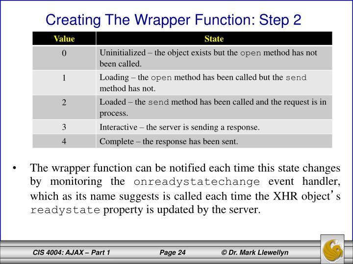 The wrapper function can be notified each time this state changes by monitoring the