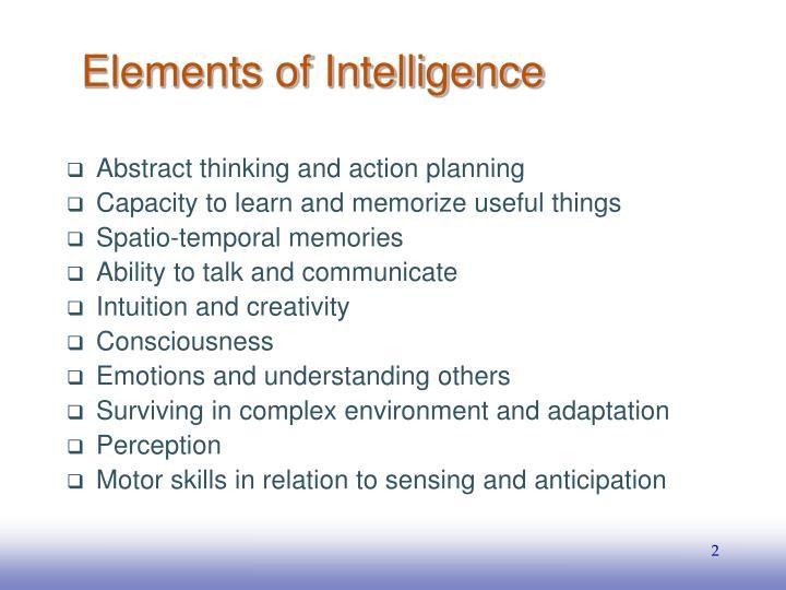 Elements of Intelligence