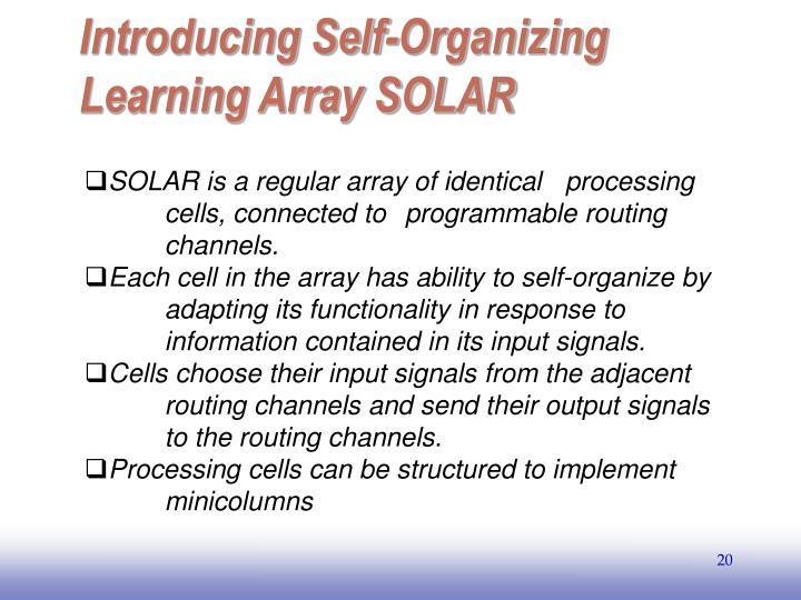 Introducing Self-Organizing Learning Array SOLAR