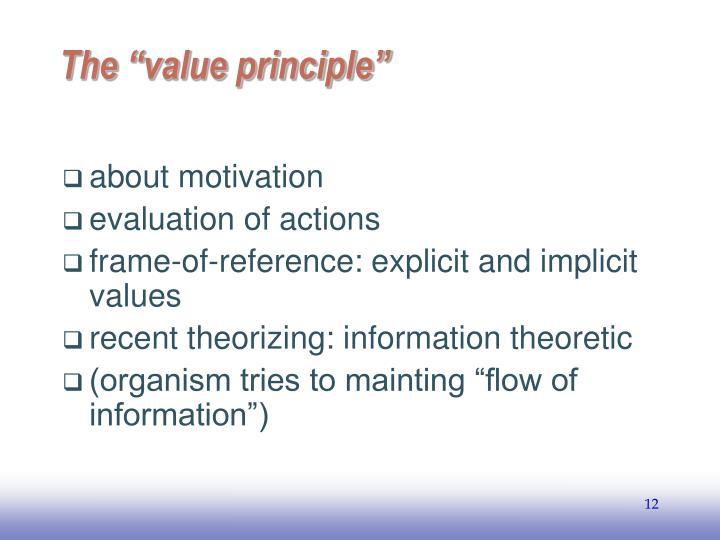 """The """"value principle"""""""