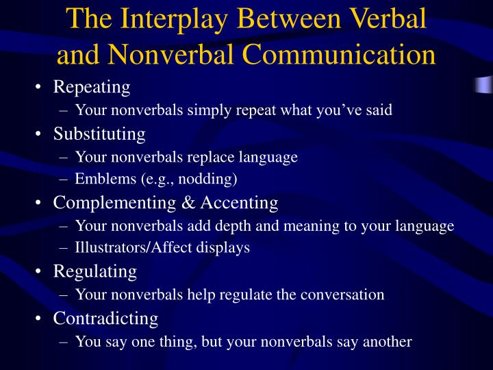 The Interplay Between Verbal and Nonverbal Communication