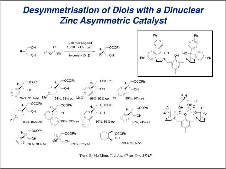 Desymmetrisation of Diols with a Dinuclear Zinc Asymmetric Catalyst