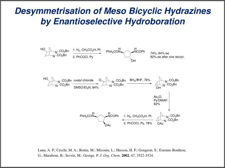 Desymmetrisation of Meso Bicyclic Hydrazines by Enantioselective Hydroboration