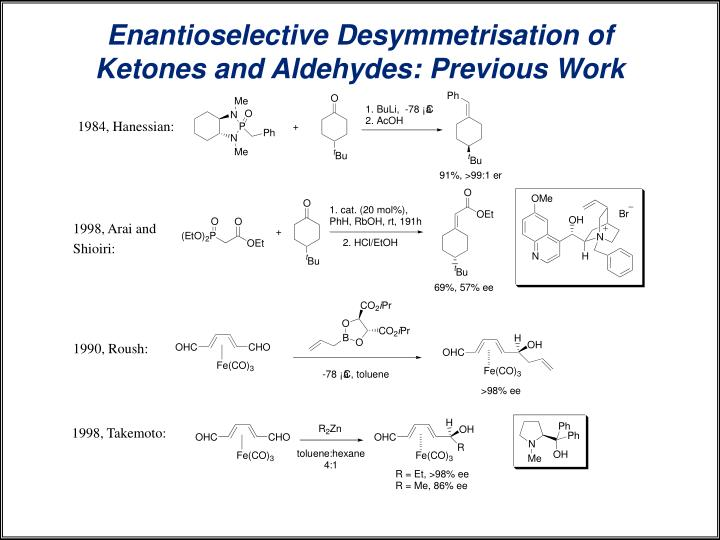 Enantioselective Desymmetrisation of Ketones and Aldehydes: Previous Work