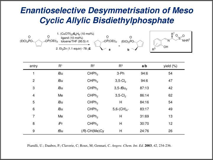 Enantioselective Desymmetrisation of Meso Cyclic Allylic Bisdiethylphosphate