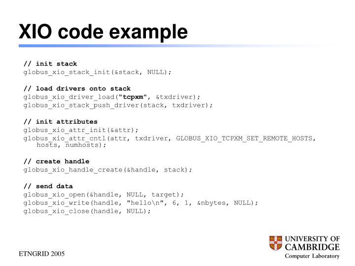 XIO code example