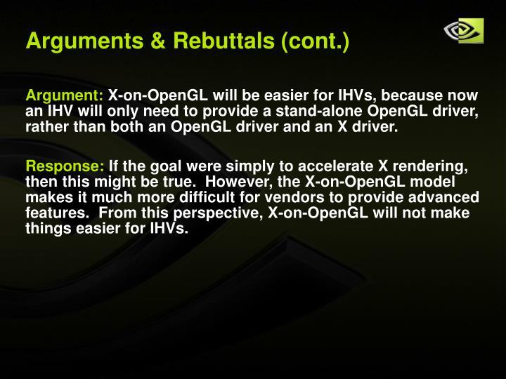 Arguments & Rebuttals (cont.)