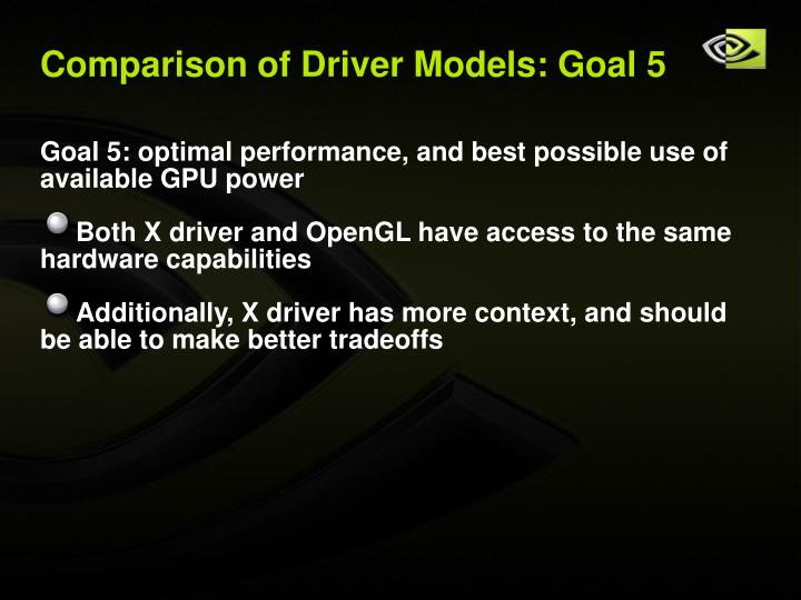 Comparison of Driver Models: Goal 5