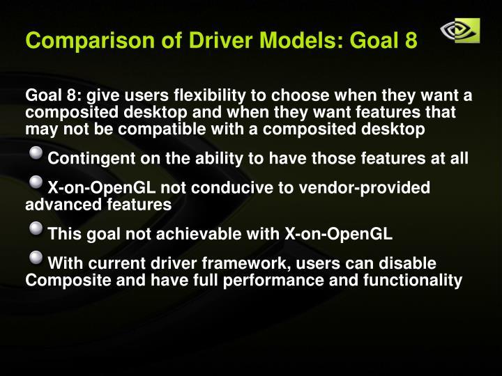 Comparison of Driver Models: Goal 8