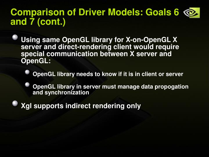 Comparison of Driver Models: Goals 6 and 7 (cont.)
