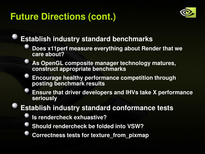 Future Directions (cont.)