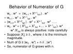 behavior of numerator of g