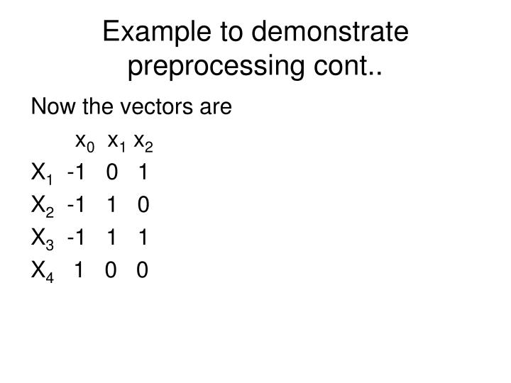 Example to demonstrate preprocessing cont..