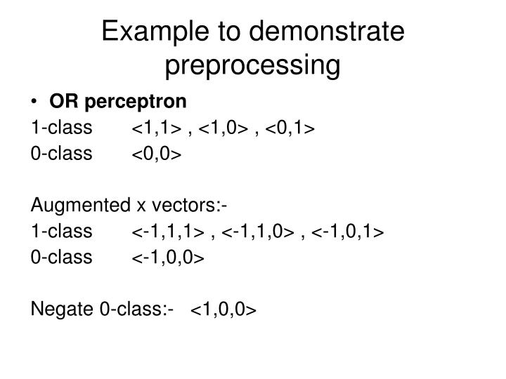 Example to demonstrate preprocessing