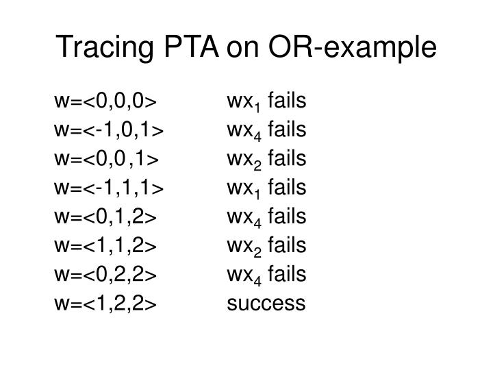 Tracing PTA on OR-example