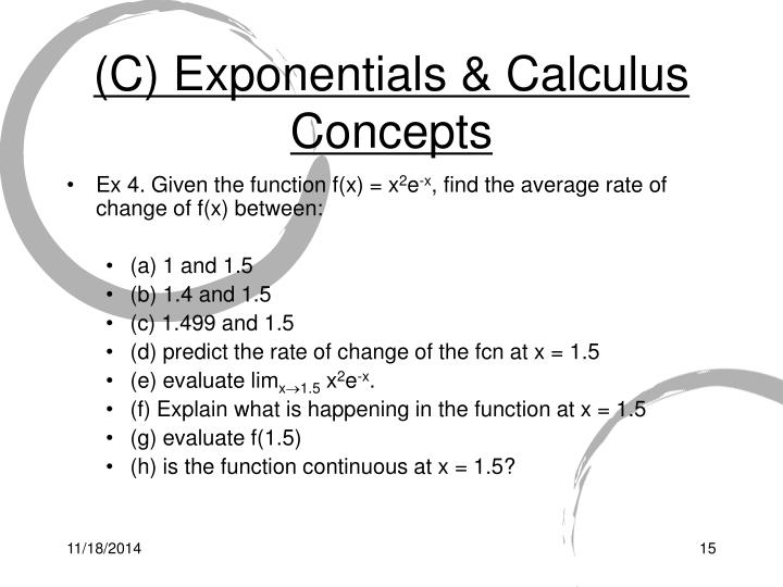 (C) Exponentials & Calculus Concepts