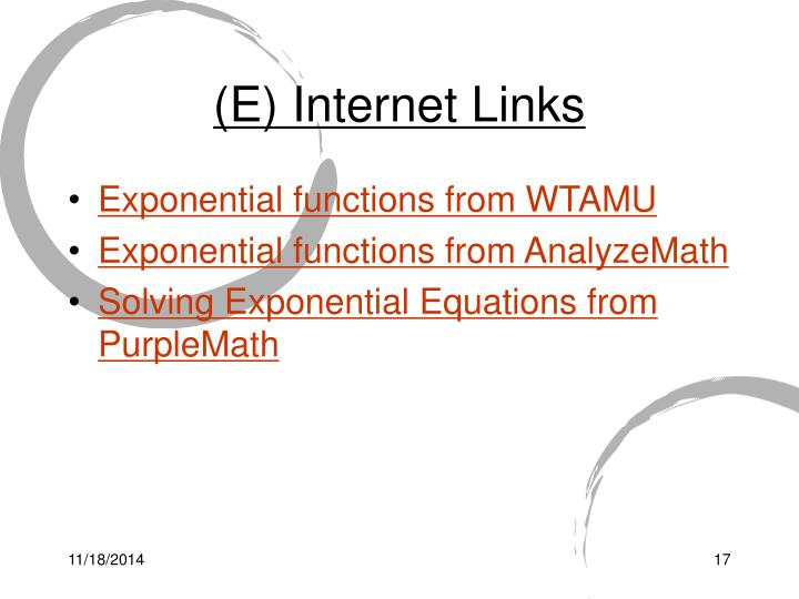 (E) Internet Links