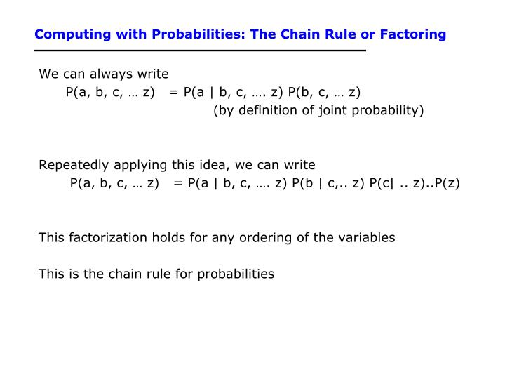 Computing with Probabilities: The Chain Rule or Factoring