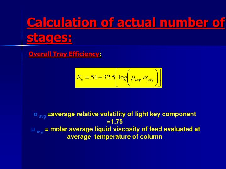 Calculation of actual number of stages: