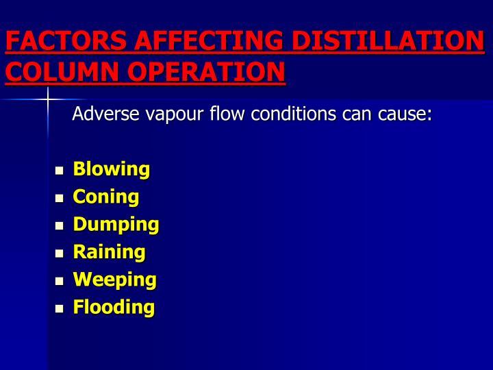FACTORS AFFECTING DISTILLATION COLUMN OPERATION