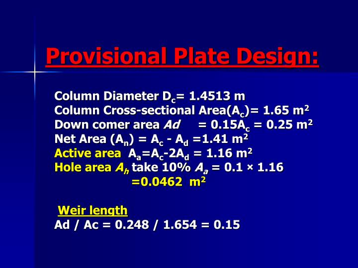 Provisional Plate Design: