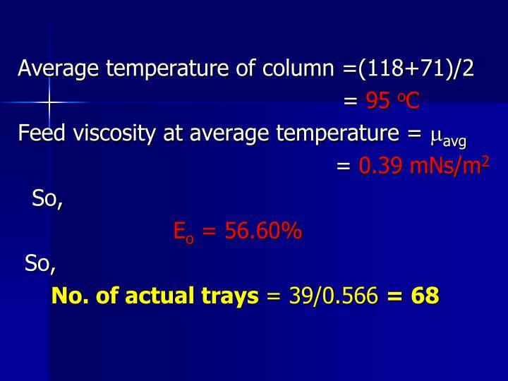Average temperature of column =(118+71)/2