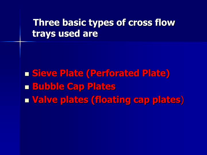 Three basic types of cross flow trays used are